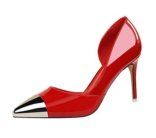 Zapatos de mujer Bombas Zapatos huecos Zapatos de tacones altos Rojo