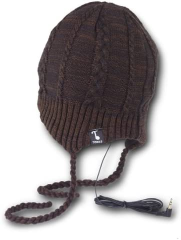 TOOKS FLAPJAC Headphone Hat with Built-in Removable Headphones – Color Black Brown
