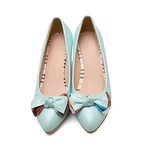 VogueZone009 Women's High-Heels Solid Pull-on Soft Material Pointed Closed Toe Pumps-Shoes Blue 9n4lzDV