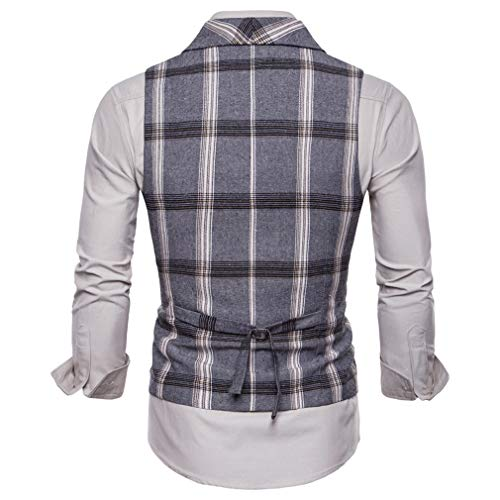 Men Fit Double Casual Slim Boutonnage À Gris Hibote Business Costume Gilet YExUq
