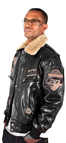ae26e9603e1 Aviatrix Mens US Air G Force Black Pilot Star Leather Bomber Jacket  Military Aviator at Amazon Men s Clothing store