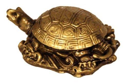 Fabulous Hong Tze Collection--Small Longevity turtle Brass Color