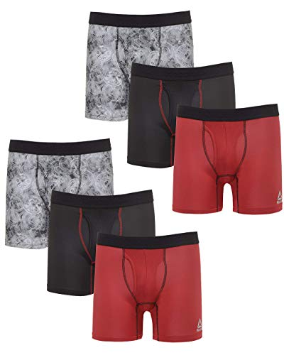 Reebok Men\'s Performance Boxer Briefs Underwear Fly (6 Pack), Black/Camo/Red, Medium'