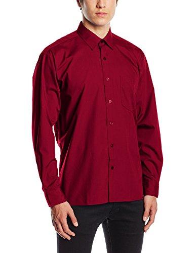 Shirt Workwear Camicia Sleeve Poplin Rosso Uomo burgundy Long Premier xHwdIBqI
