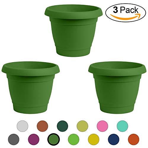 ALMI Carmel Round Planter 9 Inch [3-Pack] Plastic Rounded Pot for Garden, Elegant Shaped Flower Tree, Tapered Planters for Plants, Small Trees, UV Resistant Paint, Indoor & Outdoor - Forest Green