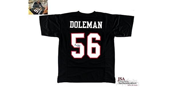 b0233e34d54 Chris Doleman Autographed/Signed Atlanta Custom Black Jersey With