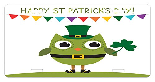 Colleges Costumes Design (St. Patrick's Day License Plate by Ambesonne, Owl with Leprechaun Costume Greeting Design for Party Shamrock, High Gloss Aluminum Novelty Plate, 5.88 L X 11.88 W Inches, White and Olive Green)