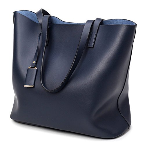 Adi Designs Backpack (ADI Women's Soft Leather Black Bucket shoulder Bag Ladies Tote Bag (dark-blue))