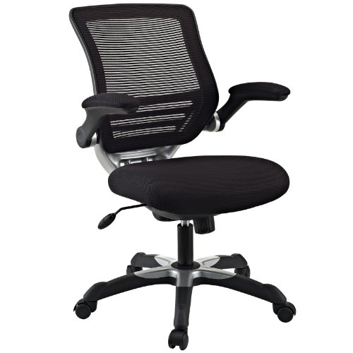 Modway Edge Mesh Back and Mesh Seat Office Chair In Black With Flip-Up Arms - Perfect For Computer Desks ()
