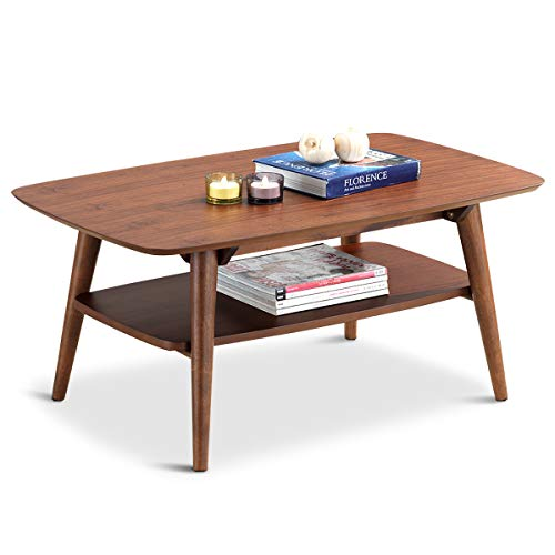 (Giantex 2-Tier Coffee Accent Table Rectangular Sofa Side End w/Storage Shelf Living Room Coffee Tables (Walnut))