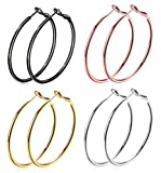 4 Pairs Big Hoop Earrings, 60mm Stainless Steel Hoop Earrings in Gold Plated Rose Gold Plated Silver Black Colors for Women Girls (4 Pairs 60mm)