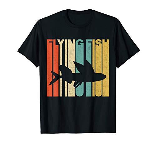 Flying Fish T-shirt - Vintage Retro Flying Fish Silhouette T-Shirt