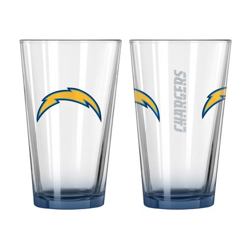 2015 NFL Football Elite Series Beer Pints - 16 ounce Mixing Glasses, Set of 2 (Chargers) ()
