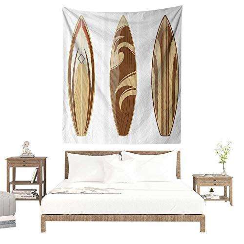 Home Living Tapestry,Surfboard Decor Collection,Wooden Surfboards Adventurous Wood Color Natural Classic Design,Peru Cream Tan W63 x L63 inch Wall Hanging for Boys Bedroom