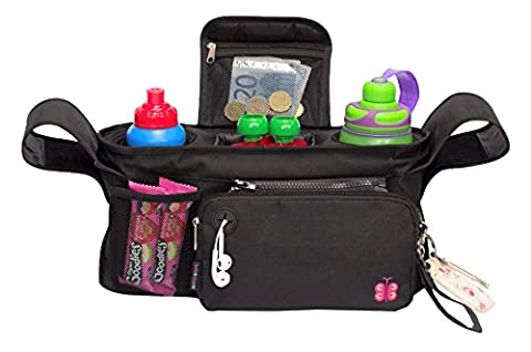 Premium Stroller Organizer by Bebeclasse, Fits All Strollers, 3 Deep Insulated Cup Holders - Extra-Large (Manicotto Di Chiusura Copertina)