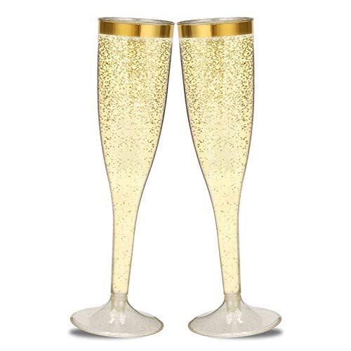 50 Gold Rimmed Gold Glitter Plastic Champagne Flutes - 5oz Disposable Wedding Holiday Toasting Wine Glasses - Party Cocktail Cups