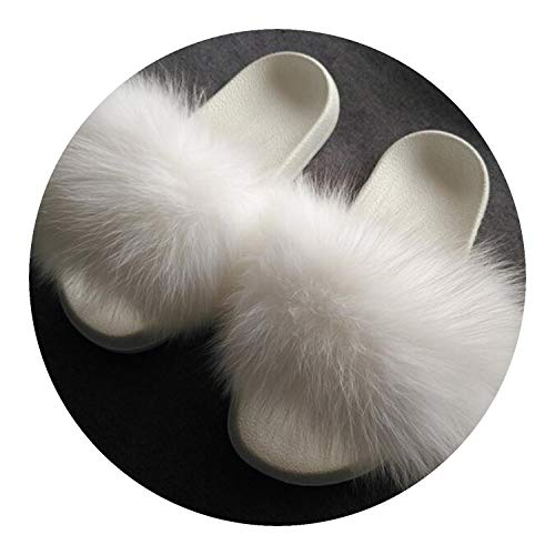 High end Fur Slippers Fox Fur Slides Flat Plush Shoes Room Slipper Cute -