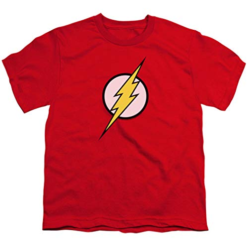 Youth Flash Lightning Bolt Logo T Shirt for Boys & Exclusive Stickers (Large) Red
