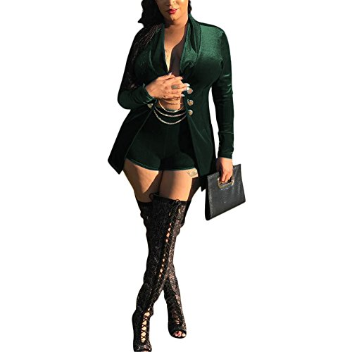 Womens Two Piece Outfits Suit Set Sexy Velvet Slim Fit Blazer Jacket and Shorts Green S