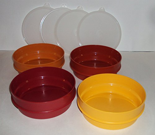 Vintage Tupperware Stacking Cereal Bowls in Harvest Colors with Seals