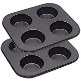 Muffin Pan, Cupcake Baking Pan (Let's Baking), Carbon Steel, Non Stick, 4 / 6 / 12 Cups by Lovekitchen Store (2pcs 4-cups pan)