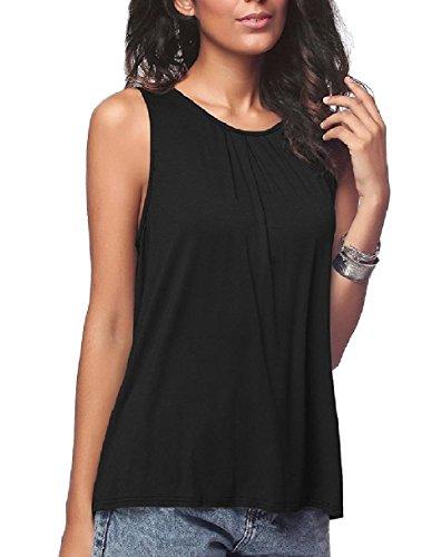 振り向くどこかピーブTootess Women Basic Cotton Pure Color Casual Round Neck Stretch Vests