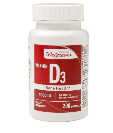 Vitamin D3 1000 IU, Softgels, 200 count by Walgreens (Pack of 3)