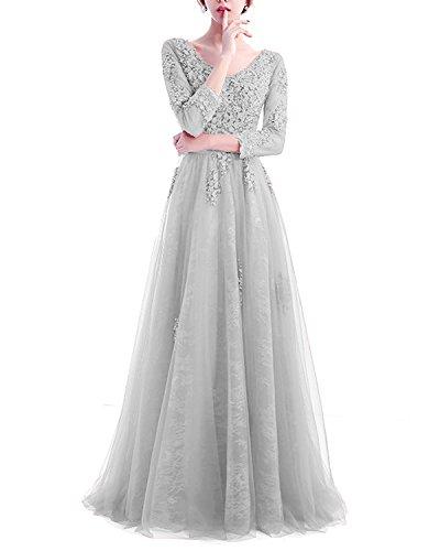 Spitze Hochzeit Silber Ballkleid für Rückenfrei mit Ärmeln LuckyShe Strasssteine Glitzer Lang Elegant Damen Abendkleider Tüll qwnPP64aEx