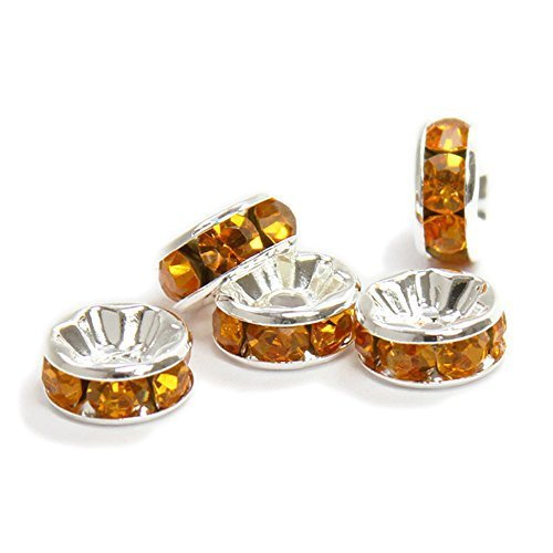 RUBYCA 100pcs 6mm A+++ Round Rondelle Spacer Charm Beads Silver Tone Dark Amber Gold Czech Crystal Amber Czech Glass Earrings
