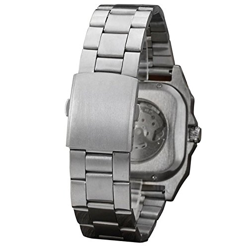 Amazon.com: Gosasa Mens Stylish Square Automatic Stainless Steel Watch With White Dial: Watches
