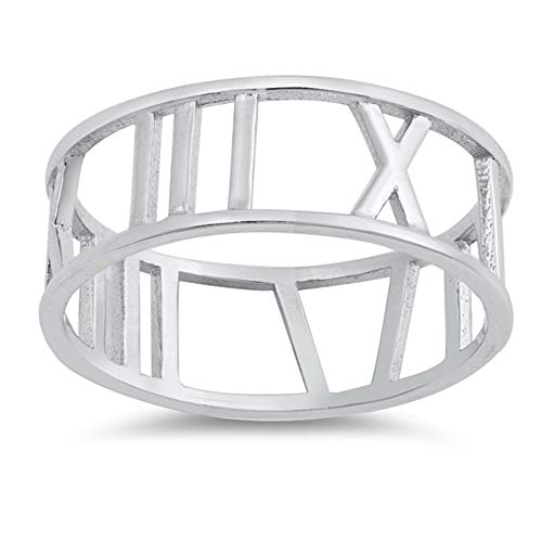 (CloseoutWarehouse Sterling Silver Roman Numeral Band Ring Size 7)