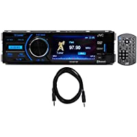 Package: JVC KD-AV41BT 3 Single-Din Car Receiver with Bluetooth, DVD, USB, Remote and IPhone Control + Trisonic 6 Foot 3.5 P-Text 24/48 Aux Input Wire
