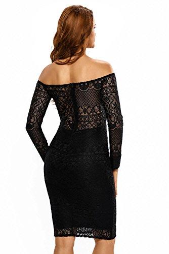 Damen Schwarz Sheer Spitze lange Ärmel Off Schulter Party Kleid Abend Party tragen Größe UK 10–12EU 38–40