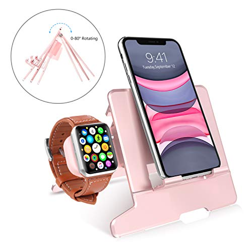 BENTOBEN Charging Stand Compatible with Apple Watch Series 5/4/3/2/1, Portable Adjustable Folding Universal Desktop Charging Dock Station Holder for iPhone Android Smartphone iPad Tablets, Rose Gold from BENTOBEN