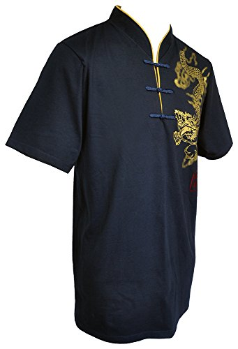 Cotton Mens Chinese Collar Shirt - Amazing Grace Men's Chinese Collar Traditional Top Cotton Tee Shirt (X-Large, Gold Dragon Navy Men)
