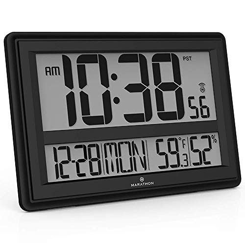 Marathon CL030056BK Jumbo Atomic Wall Clock with Date, Indoor Temperature and Humidity-Batteries Included. (Black) (Renewed)