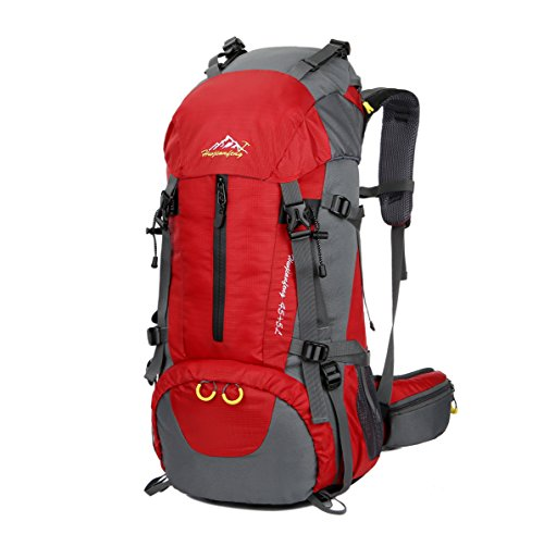WoneNice 50L(45+5) Waterproof Hiking Backpack - Outdoor Sport Daypack with Rain Cover for Climbing Mountaineering Camping Fishing Travel Cycling Skiing (Red, 50L)