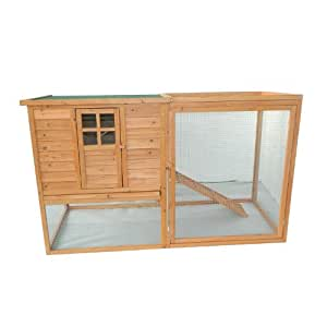 "Pawhut 64"" Chicken Coop Hen House w/ Nesting Box and Outdoor Run"