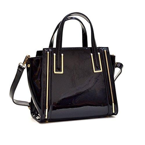 Patent Leather Like Handbag (Dasein Fashion Designer Faux Leather Satchel Handbag Tote Shoulder Bag Purse For Women with Strap)