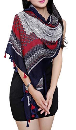 Women's Floral Soft Bohemian Oversized Stripe Long Scarf Wraps Shawl Sheer Gift