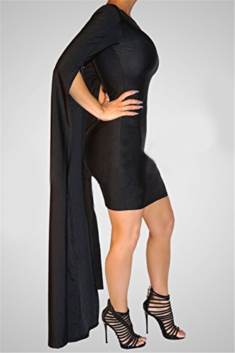 Sottile Di Sexy Club Delle Del Lunghezza Del Nera Vestito Fit Piano Di Modo Manicotto Donne Elegante Benda Divisione wOUxqpURC