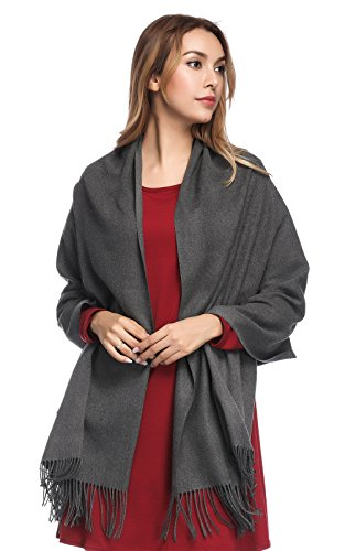 - Pashmina Shawls and Wraps for Women - PoilTreeWing Solid Color Cashmere Scarfs(Dark Grey)