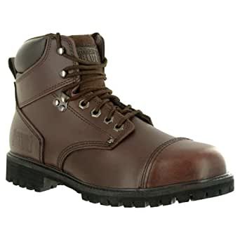 Rugged Blue RB2 1800 Leather Steel Toe Waterproof Men's Work Boot, Size 10.5M, Dark Brown