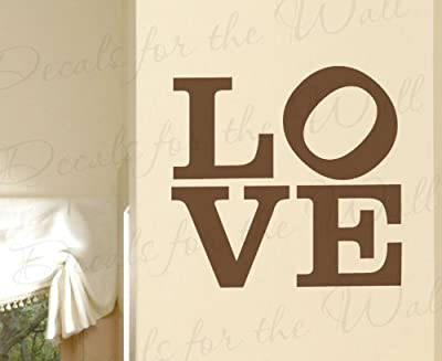 Love Wall Decal - Vinyl Graphic Famous Iconic Robert Indiana Sculpture Sign Tilted O Design Art Sticker Decoration Large Decor Mural