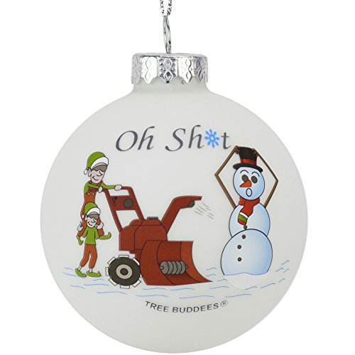 Snowman Ornament Collection - Tree Buddees Oh Sht Funny Snowblower vs Snowman Glass Bulb Ornament