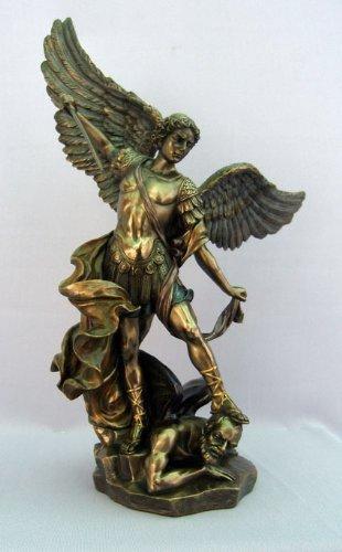 Archangel St. Michael Statue in Cold Cast Bronze - Catholic Saint Miguel Sculpture with Sword ()