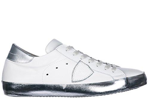Scarpe Da Uomo Modello Philippe Mens Scarpe Sneakers In Pelle Di Colore Bianco
