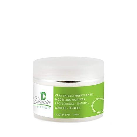 Damin Bio Nature Cera Cabello Profesional Wax Natural con Aceite de Ricino Jojoba y Almendra Dulce