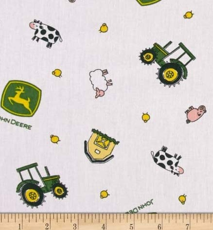 1/2 Yard - John Deere Tractor & Farm Animal Toss on White Cotton Fabric - Officially Licensed (Great for Quilting, Sewing, Craft Projects, Throw Blankets & More) 1/2 Yard X ()