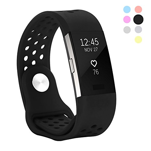 Hanlesi Band Compatible for Fitbit Charge 2, Soft Silicone Breathable Fashion Sport Strap for Fit bit Charge2 Replacement Original Accessory Black Wristband with Hole for Girl Boy (Diesel Buckle Closure Belt)